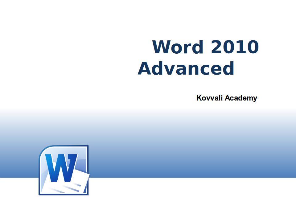 Word 2010 Advanced