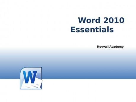 Word 2010 Essentials
