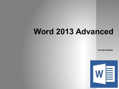 Word 2013 Advanced