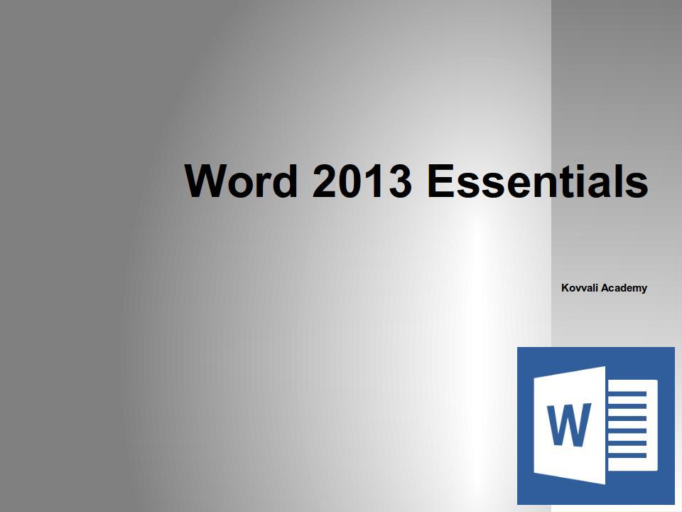 Word 2013 Essentials